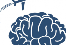 Plane, brain for Wrenn Travel Awards Graphic